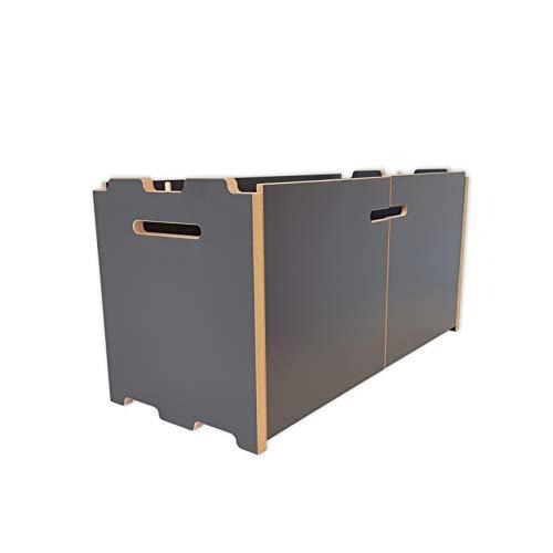 Tojo Hochstapler I Anbaumodul mit Türen für modulares Regalsystem I Erweiterungsmodul für EIN individuelles Wandregal, Bücherregal, CD Regal I MDF Regal Farbe Anthrazit