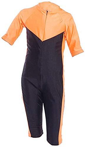 YEESAM Kinder UV Schutz Schutzkleidung Wetsuit Badeanzug Badebekleidung Wassersport Anzug Shorty - Bescheiden Bademode Muslimische (Asien L ~ Höhe: 120-145cm, Orange)