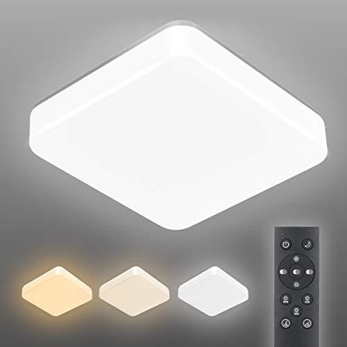 LED Deckenleuchte Dimmbar, T-SUN 24W Deckenleuchte dimmbar mit Fernbedienung, 1260LM Lichtfarbe und Helligkeit Einstellbar, IP44 Wohnzimmerlampe Schlafzimmerlampe Kinderzimmerlampe[Energieklasse A++]