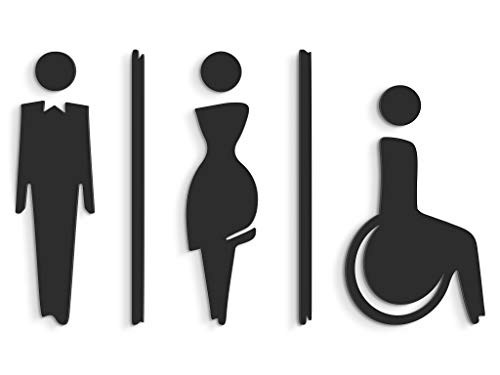 3DP Signs - Targa Bagno a Rilievo Nero (15 cm) - Set Adesivo Toilette di Design SA112 - Targhette Bagno Uomo Donna disabile - Adesivi WC disabili Restroom