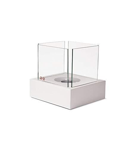 M & A Tisch-Ethanol-Kamin Tisch-Feuer Feuer-Schale mit Schutz-Glas-scheiben und Lösch-Deckel Weiss