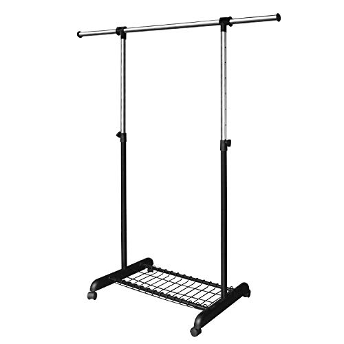 LiaMeE Freestanding Standard Rod Garment Rack for Hanging Clothes with Wheels  Rolling Extendable Clothing Organizer with Shelf and Grid Adjustable Clothes Rail for Closet Black and Chrome