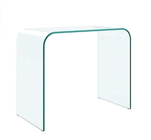 Bricozone Consolle Tavolo da Salotto e Soggiorno, Design Moderno e Curvo, in Vetro Temperato, Luxury Z-12, 88 x 71 x 44 cm Trasparente