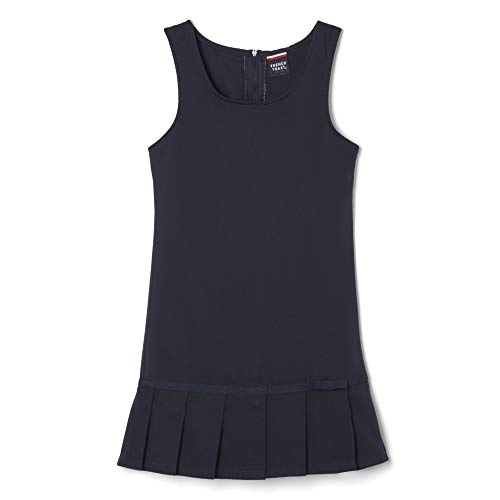 French Toast Little Girls' Pleated Hem Jumper, Navy, 6X