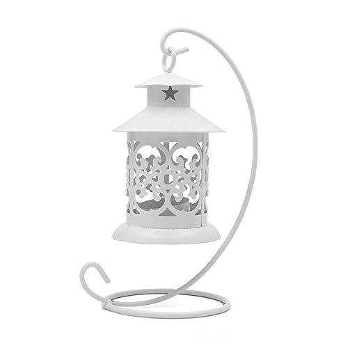 Candeliere, Moda Semplicemente Hollow Candeliere d'epoca artigianali in metallo lanterne Candeliere Funzione Multi Hanging Hollow a lume di candela Candelabro Bianco