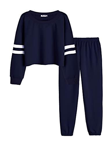 Bricnat Kinder Sportanzug Mädchen Trainingsanzug Zweiteiler Jogginganzug Bekleidungsset Kinderkleidung Anzug für Sport Tracksuit 146 152 Blau 150