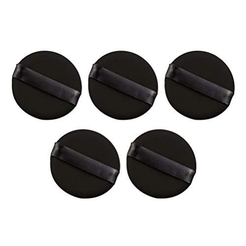 Lurrose 10pcs maquillage bouffée de poudre non-latex douce rebondie beauté éponges blender pour fondation poudre cosmétique crème bb (noir)