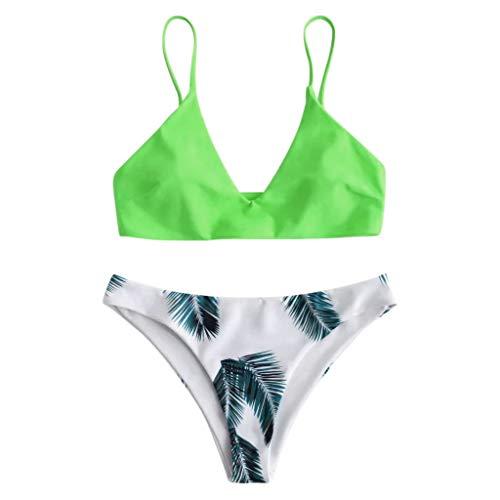 Briskorry Bikini Damen High Waist Sexy Tankini Push Up Bikini RüSchen Set Zweiteilige Badeanzug Strandkleidung Neckholder Triangel Oberteil Bandage Bikinihose