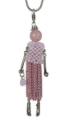 Ella Jonte Kette Püppchen rosa Silber Lange Halskette Mannequin Puppe Fashionista