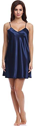 Dkaren 44 Edles Nachthemd Negligee aus Satin KAREN (Navy Blau, XL)