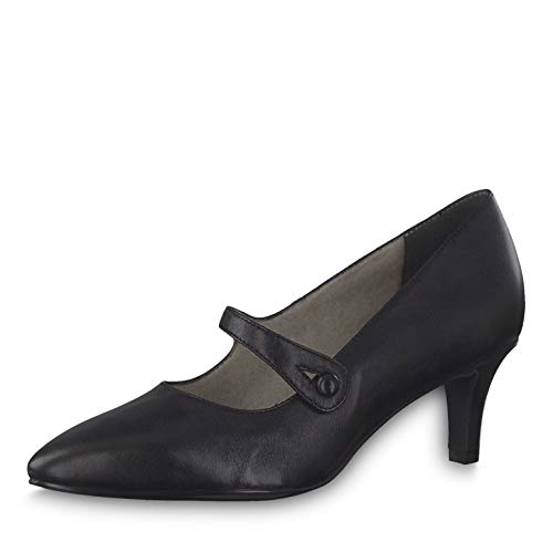 Tamaris Damen Pumps 24418-23, Frauen Riemchen Pumps, schnallen-Pumps Mary-Jane bequem geschlossen flach Damen Frauen Lady,Black Leather,38 EU / 5 UK
