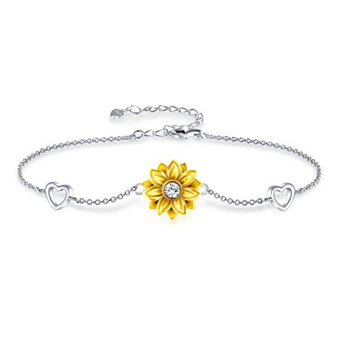 925 Sterling Silver Bracelet for Women Adjustable Sunflower Heart Charm Bracelet Christmas Jewelry Gifts for Mom Girlfriend Birthday