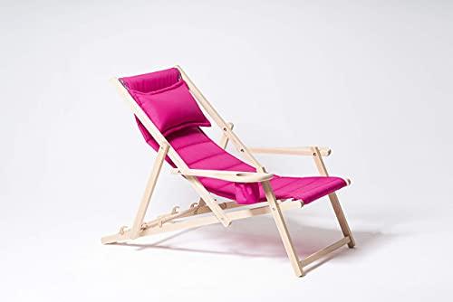 MyDeer Holz Liegestuhl klappbar, Lounge Sessel mit Kissen, Sonnenliege für Garten, Balkon, Camping, Klappstuhl mit Armlehne & Getränkehalter, Modern Gartenstuhl, Relaxliege, Rosa Stuhl