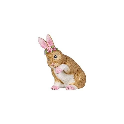 Villeroy & Boch Easter Bunnies Hase klein, putzend mit Blumenkranz, Figur zum Sammeln, Hartporzellan, 9 x 5.5 x 10 cm, bunt, 9x5,5x10