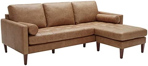 Best Amazon Brand – Rivet Aiden Mid-Century Leather Sectional with Tapered Wood Legs, 86