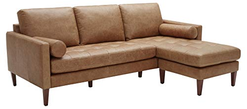 Rivet Aiden Mid-Century Leather Sectional with Tapered Wood Legs, 86'W, Cognac
