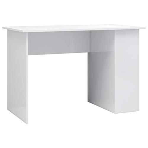 vidaXL Schreibtisch mit 2 Regalen Computertisch Arbeitstisch Bürotisch Laptoptisch Büromöbel PC Tisch Hochglanz-Weiß 110x60x73cm Spanplatte