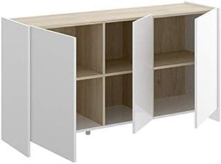 HABITMOBEL Aparador 3 Puertas Color Blanco y Natural Medidas Alto: 76 cm Ancho: 138cm Fondo: 42cm