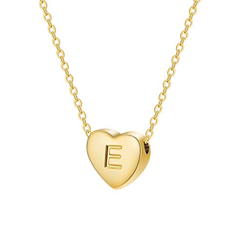Dainty Heart Initial Necklace Letters E Alphabet Pendant Necklace Small Heart 18K Real Gold Plated Personalized Necklace for Girl Women