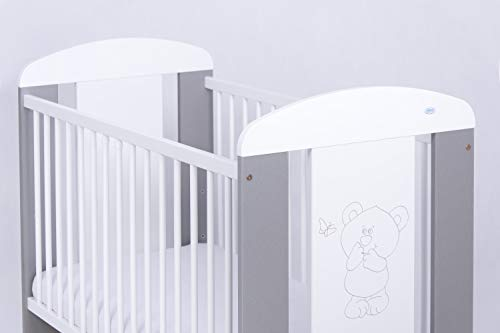 White Grey Wooden Cot Bed'Teddy and Butterfly'