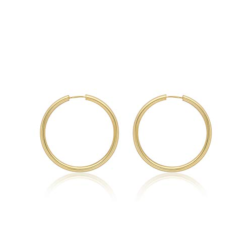 Carissima Gold Women's 9ct Yellow Gold 4mm Tube 35mm Hoop Earrings