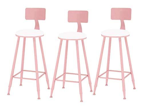 SHUSHI-Q Cafe Restaurant Bar Stool Chair 3-Piece Set Makeup Stool for Kitchen Pub Café with Footrest and Backrest Nordic Modern Elegant (Color : B, Size : 65cm)
