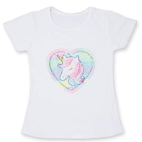 TTYAOVO Flip T-Shirt con Paillettes per Ragazze Unicorno, Unicorno Manica Corta Tops Estate Vestiti per Ragazze Taglia 3-4 Anni