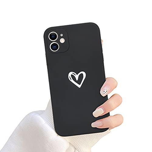 Newseego Compatibile per iPhone 11 Custodia (6.1 inch), Carino Cuore iPhone 11 Custodia Morbido Silicone Liquido iPhone 11 Cover per Cellulare Protettivo Custodia in Antiurto Sottile iPhone 11-Nero