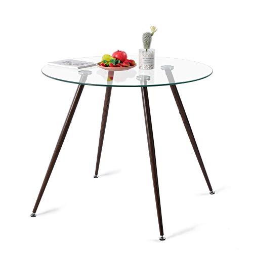 IPOTIUS Moderno Tavolo da Pranzo in Vetro Rotondo per 4 Persone, Tavolo da Cucina, Gambe in Metallo con Effetto Noce, 90x90x75cm Trasparente