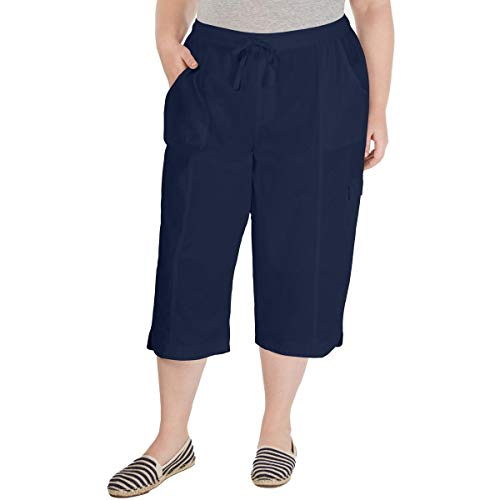 Karen Scott Womens Plus EDNA Cotton Pull On Capri Pants Navy 0X