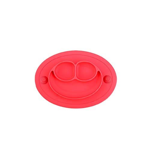 Plaque de table en silicone durable pour bébés Plaque de nourriture divisée Bébés Bébés Plaque de séparation pour tout-petits Coupe-vent antidérapante Vaisselle portative Vaisselle portable Auto-alime