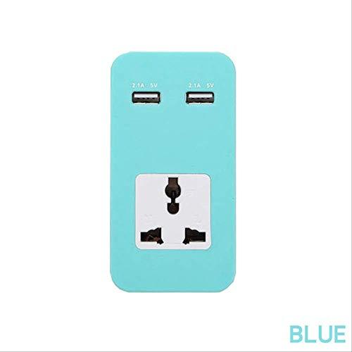 Schnelle Lade 2 USB-Anschlüsse Universal-Power Strip Travel tragbare Ladegerät Verlängerungskabel Buchse Adapter 108x56x32mm Blau kshu