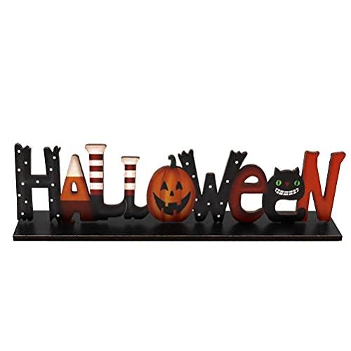 Decorazione per tavolo di Halloween, centrotavola con zucca, insegna in legno spettrale o scherzoso,...