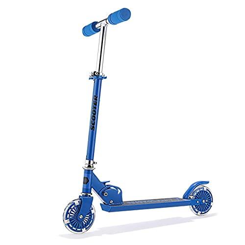 HTRTH Stunt Scooters niños Adultos 2 Ruedas Principiante Nuevo aleación de Aluminio Scooter Ajustable Altura Mejor Regalos para niños 821 (Color : Blue)