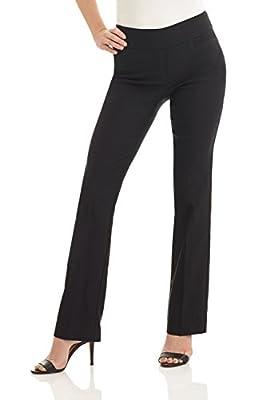 Rekucci Women's Ease into Comfort Boot Cut Pant (4,Black)