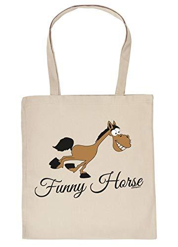 Comic Pferd Tasche - Spruch/Motiv Pferd Stofftasche : Funny Horse - Stalltasche Reitsport - Farbe : Creme