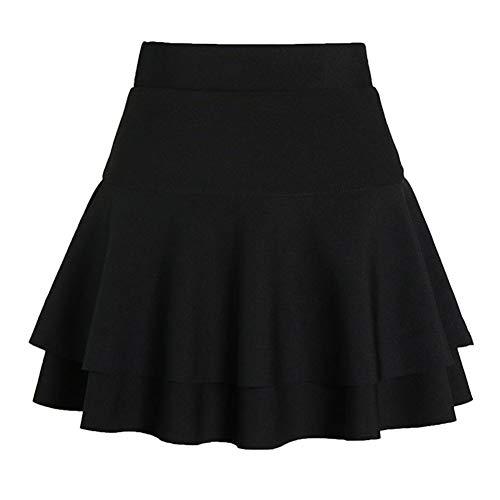 Shaoyao Moda Faldas Elástica Plisada Cintura Alta Falda con Volantes Corto