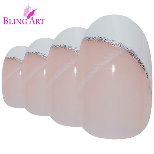 Falsche Nägel Bling Art Weiß Glitzer Oval 24 Kunstnägel Mittel Tipps mit Kleber