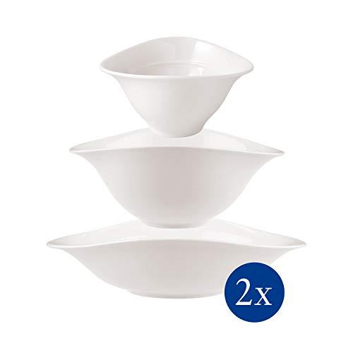 Villeroy & Boch - Vapiano Schalen-Trio, 6 tlg., ideal für das Dinner zu zweit, Premium Porzellan, spülmaschinen-, mikrowellengeeignet, weiß