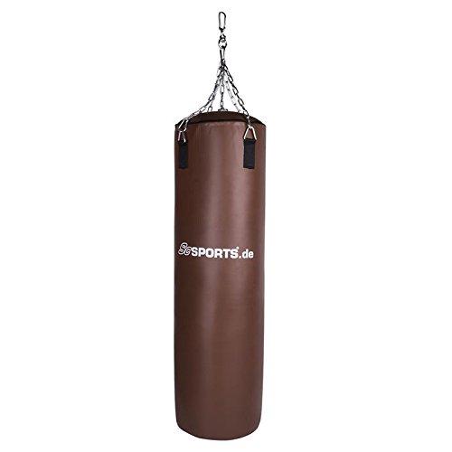 ScSPORTS® Boxsack 120 x 35 cm aus braunem Kunstleder mit 4-Punkt Stahlkette, Drehwirbel und Karabiner, gefüllt
