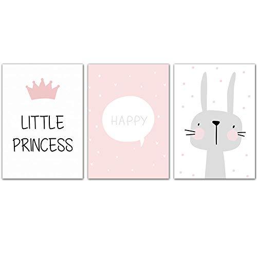 zhouyiz roze cartoon poster konijntje Nordic canvas schilderij baby meisjes kamerdecoratie muurkunst schilderij kleuterschool afdrukken afbeelding oningelijst 50X70cm ungerahmt D-3-delig
