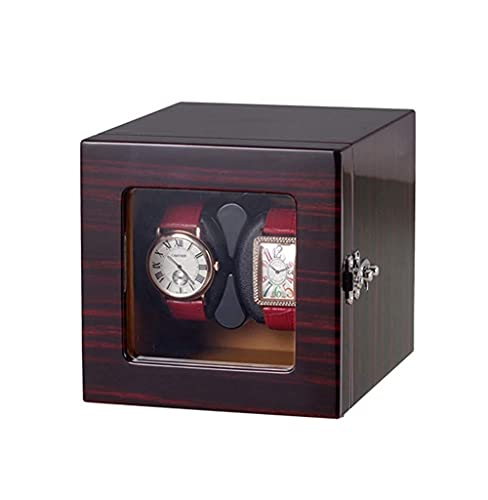 XLAHD Enrollador de Reloj automático, enrollador de Reloj automático, enrollador de Doble rotación de Madera Caja de Madera de Motor silencioso Premium 4 Modos 18,8 × 15 × 15 CM