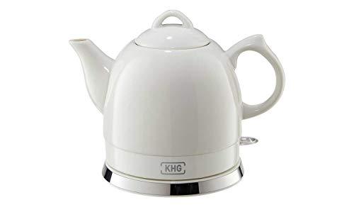 KHG Wasserkocher klein 0,8 Liter Weiß Keramik Kessel Vintage