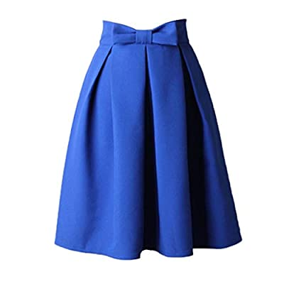Qisc Women's Skater Skirt, Basic A Line High Waisted Pleated Circle Stretchy Flared Mini Skirts