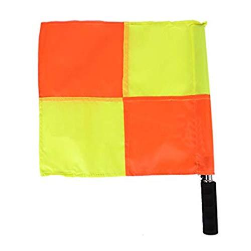 PULABO Fußball Linienrichter Flags UEFA Football Schiedsrichter Patrol Flagge Platz Edelstahl Griff Flagge Training Zubehör 1 STÜCKE Gute Qualität,Sicherheit