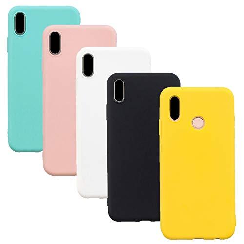 HereMore 5 x Funda para Xiaomi Redmi S2, Carcasa Protectora Suave Mate en Silicona Gel TPU Ultra Delgado Antigolpes Cubierta de Protección para Redmi S2 [Blanco,Negro,Rosa,Verde,Amarillo]