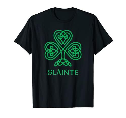 Slainte Irish Green Shamrock Celtic Knot Ireland Gaelic T-Shirt