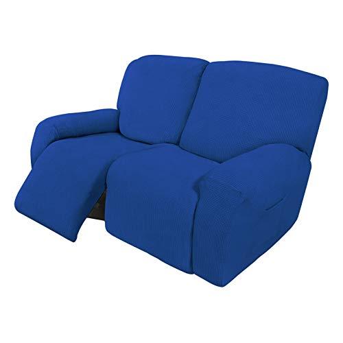 Easy-Going Funda elástica para sofá reclinable de 6 piezas, suave con parte inferior elástica, tela jacquard de licra a cuadros pequeños azul clásico