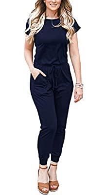 DOUBCQ Womens Casual Short Sleeve Jumpsuits Elastic Waist Jumpsuit with Pockets(Navy Blue, M) from