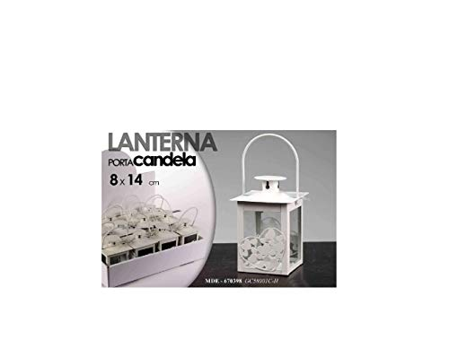 Generico Lanterna In Metallo PORTACANDELA Porta-Candele Bianco SEGNAPOSTO H 14 X 8
